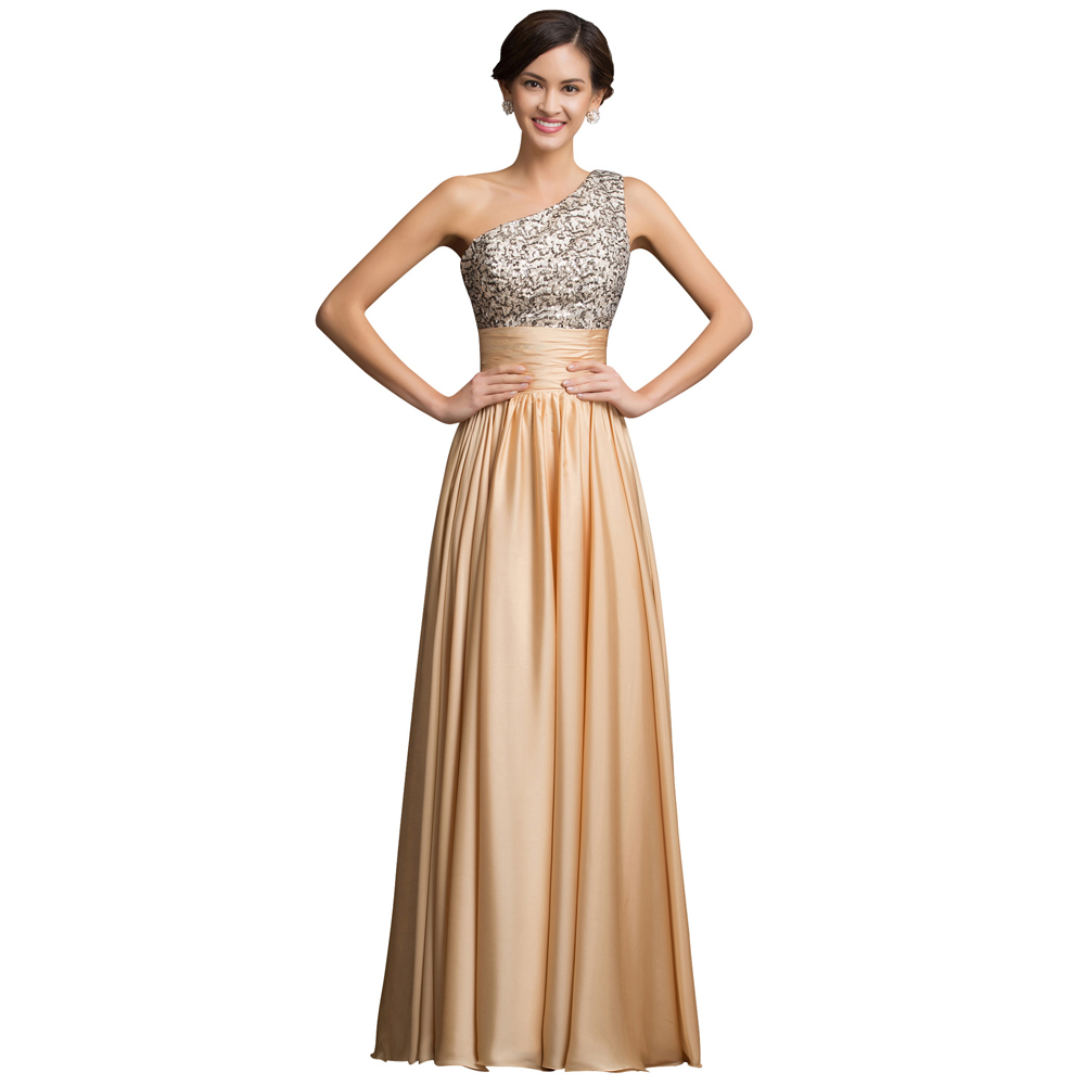 Free Shipping GK One Shoulder Sequins Adorned Empire Formal Evening Dress Elegant Long Evening Gown Night Party Dresses 007529(China (Mainland))