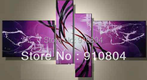 Framed 4 Panels Large Purple ArtWork Canvas Oil Painting Antique Wall Art Picture Home Decor L0143(China (Mainland))