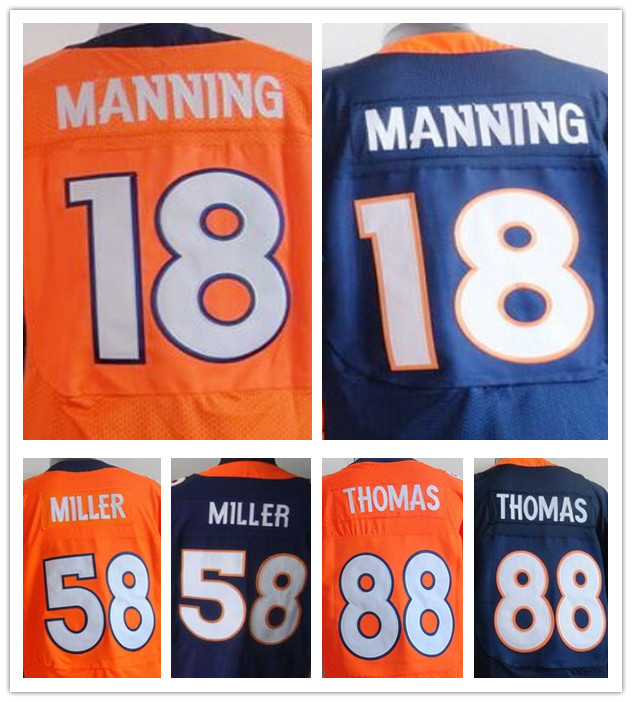 100% Stitiched Denver #18 Peyton Manning jersey authentic #58 Von Miller jersey Broncos elite #88 Demaryius Thomas jersey(China (Mainland))