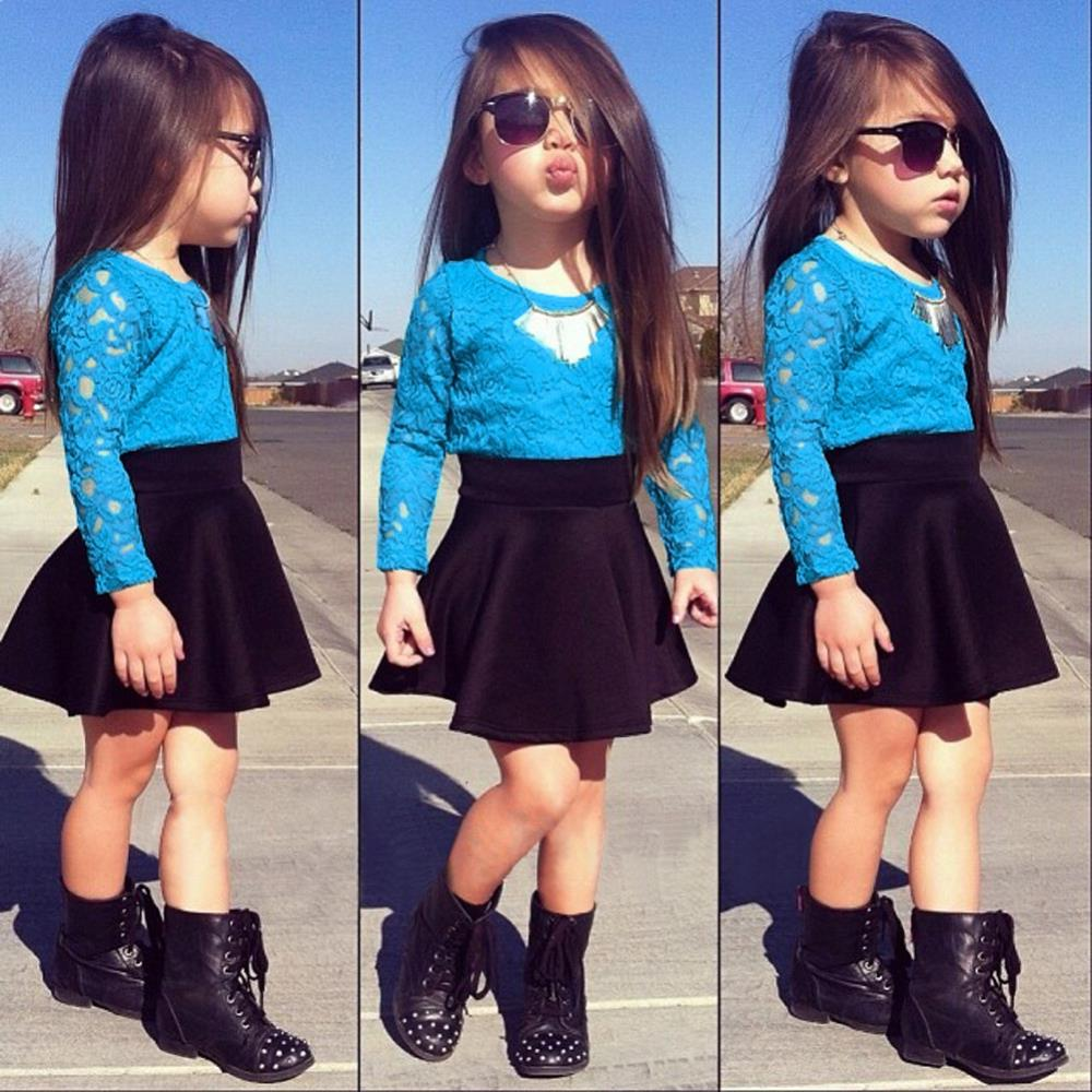 Brand Girl Set 2015 Girls Valentine Outfit Lace Blouse&Skirt 2 Pieces Suit Summer Dress Baby Clothing Sets2 - SNOW LOVE store