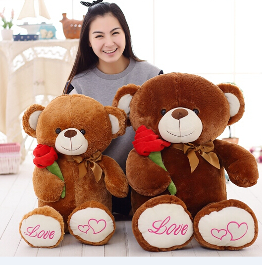 1PCS 80CM&100CM Two Big Size Holding Rose Teddy Bear Stuffed Plush Toy Children Birthday Lovely Gifts Free Shipping YZT0033(China (Mainland))
