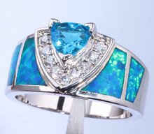 Best Gift Noble Wholesale & Retail Jewelry Blue Fire Opal Blue Topaz Zircon White Gold Filled Ring Size 6.5 / 8 / 9 JR3435