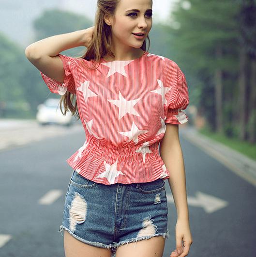 Summer Fashion Star print Chiffon O-neck Shirt Butterfly sleeve elegant Shirts casual slim tops(China (Mainland))