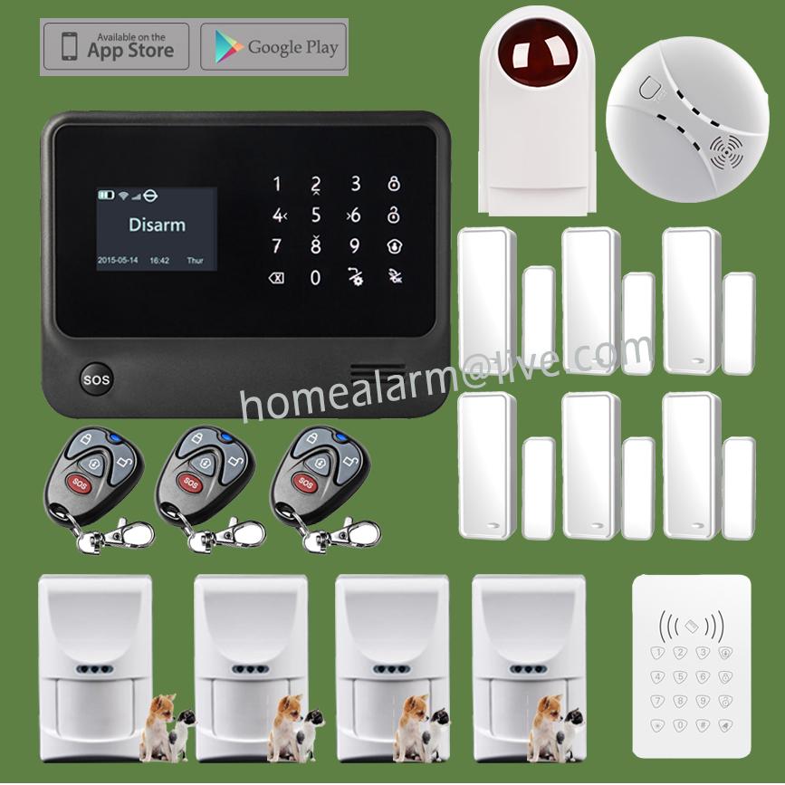 GSM WIFI GPRS Alarma Casa G90B Security Alarm System with Pet Friendly PIR Sensor, Password Keypad and Outdoor Flash Sirene<br><br>Aliexpress