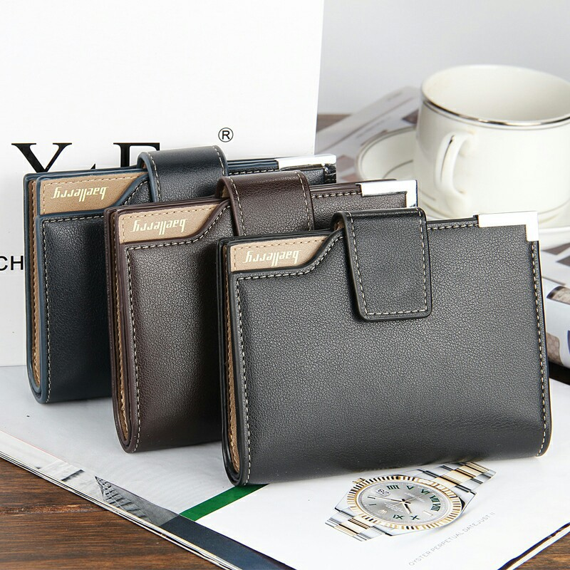 New Men's Casual Velcro Wallet Purse Vertical Multifunctional Leather Wallet(China (Mainland))
