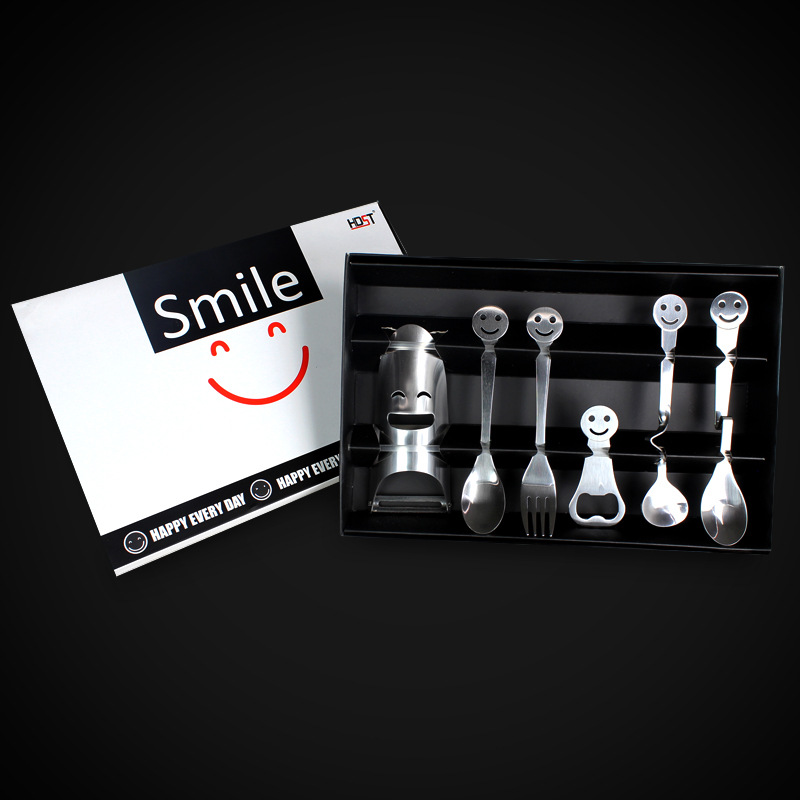 6pcs/set Cartoon Happy Smiley Face Stainless Steel Cutlery Set With Gift Box Tableware Dinnerware Set Spoon Beer Bottle Opener(China (Mainland))
