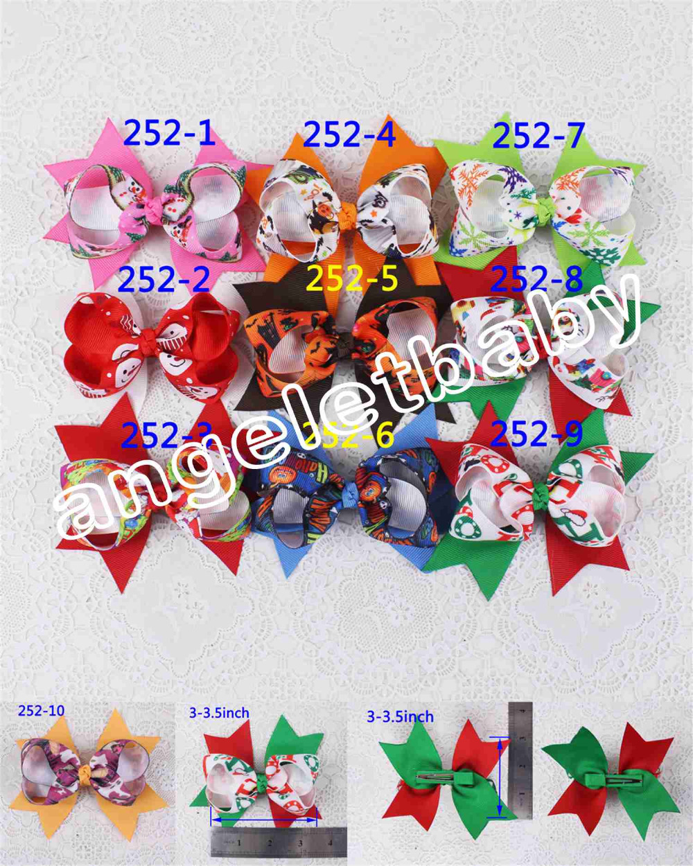 50pcs Xmas/Halloween Party Girls Kids hair bobbles accessories kitty Inside Out Sophia princess cartoon hair bows clips HD3451(China (Mainland))