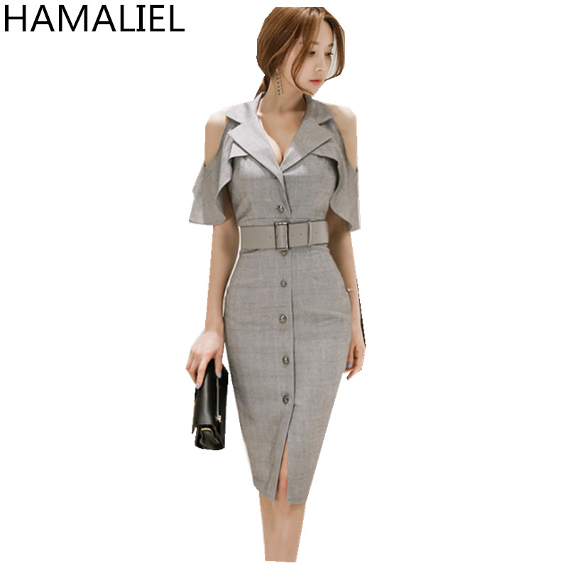 Korean Summer Women Office OL Dress 2017 Fashion Business Gray Shoulder Butterfly Sleeve Female Notched Collar Work Dress