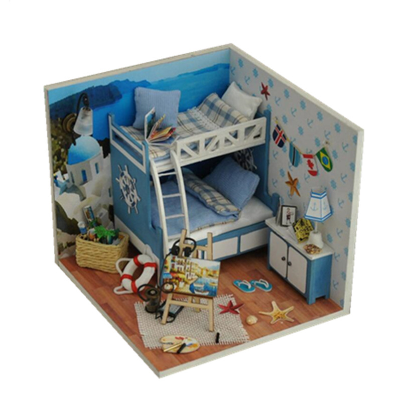Diy Doll Home Miniature 3D Wood Puzzle Dollhouse Miniaturas Furnishings Home Doll For Birthday Reward Toys,Aegean Sea Tour