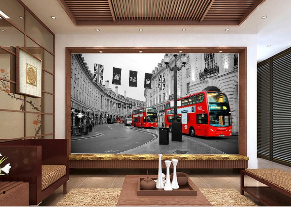 Retro background red london bus street 3d wallpaper modern for Home wallpaper london
