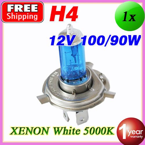 12V 100/90W H4 Halogen Bulb 5000K Xenon Dark Blue Glass Car HeadLight Lamp Super White FREE SHIPPING(China (Mainland))