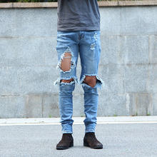 Urban Cool Mens Side Ankle Zipper Jeans Kanye West Skinny Destroyed Distressed Knee Ripped Jeans With Holes For Men