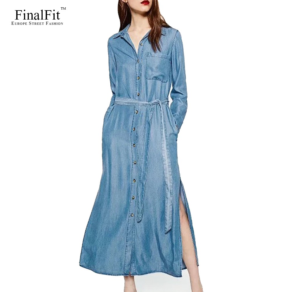 Luxury  Dresses Gt Day Dresses Gt Chic Tie Waist Lace Paneled Long Sleeve Denim