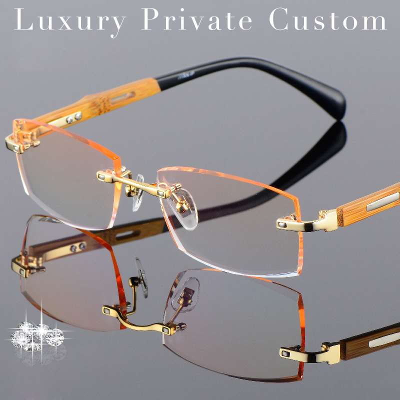 Gold Frame Rimless Glasses : Titanium Eyeglasses Rimless Men Gold Wood Glasses Frame ...