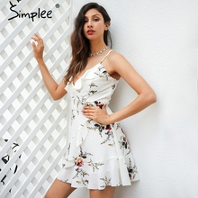 Buy Simplee A-line ruffles floral print summer dress women Deep v neck backless bandage sexy dress Casual party short dress for $14.73 in AliExpress store
