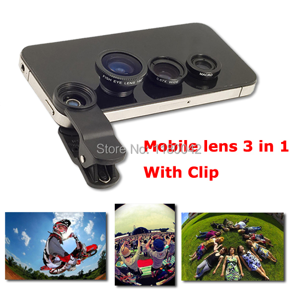 Universal 3in1 Clip-On Fish Eye Lens Wide Angle Macro Mobile Lens For iPhone 4 5 Samsung Galaxy S4 S5 All Phones fisheye(China (Mainland))