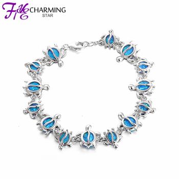 2015 New 925 sterling silver fire opal Women Bracelets Cute Turtles 925 silver bracelet fine jewelry Wholesale SBI097W