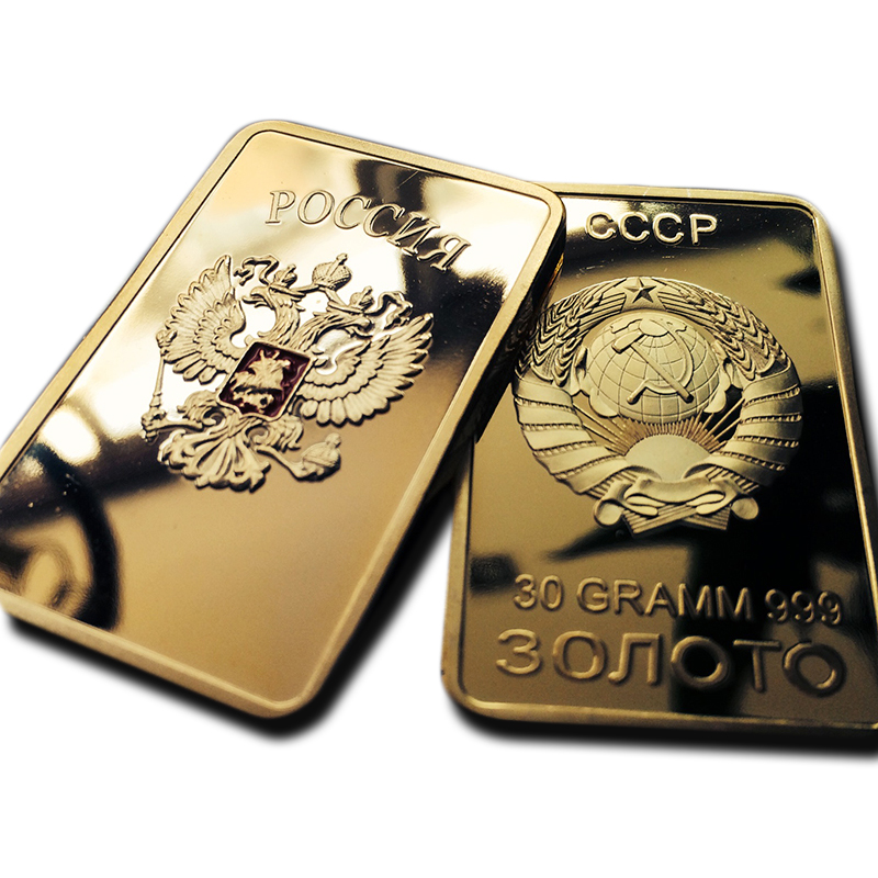 HOT SALE! Free shipping 2pcs/lot RARE SOVIET RUSSIAN USSR CCCP PURE .999 24K GOLD LAYERED INGOT BULLION BAR(China (Mainland))