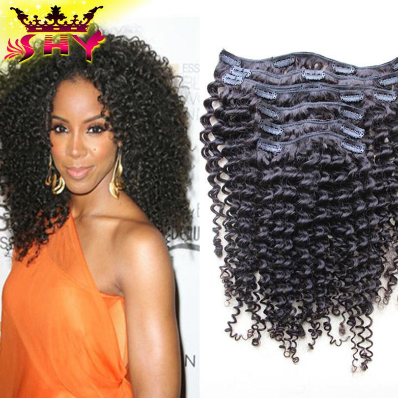 6A Brazilian Kinky Curly Clip In Hair Extensions 7PCS/Set Natural Color Brazilian Virgin Human Hair Clip In Hair Extensiosn<br><br>Aliexpress