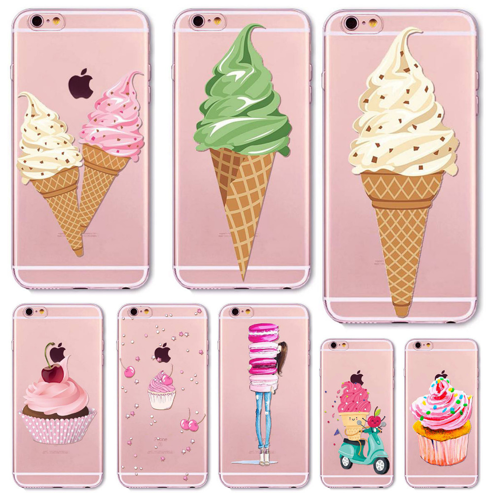 Phone Case Cover For iPhone 6 6s Plus 5 5s 5C SE 4 4s Clear Soft Silicon Donut Macaron Ice Cream Pizza Mobile Phone Bag(China (Mainland))