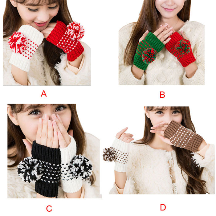 Novel designs Hot!lady Double Color Ball Hand Wrist Knitted Warmer Fingerless Mitten Gloves girl(China (Mainland))