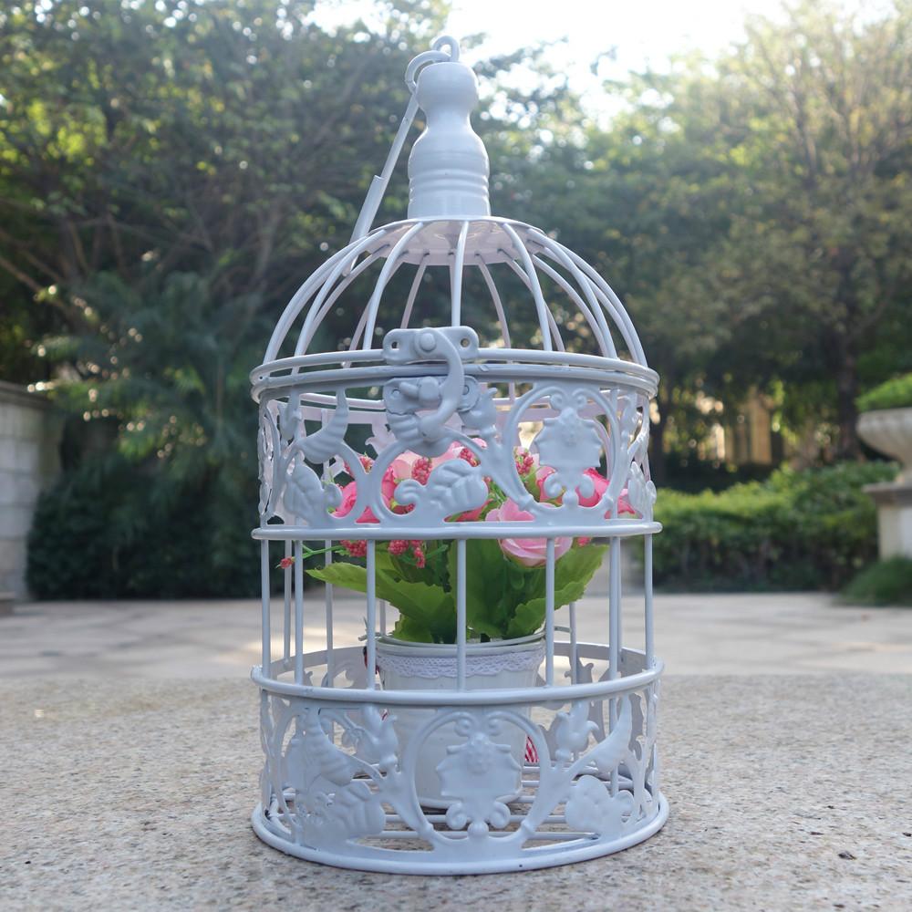 Small Metal bird cage vintage iron antique white ...