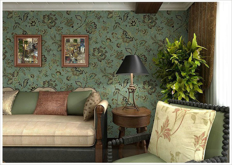 Pvc country style vintage dark green background wall flower wallpaper for living room floral for Flower wallpaper for living room