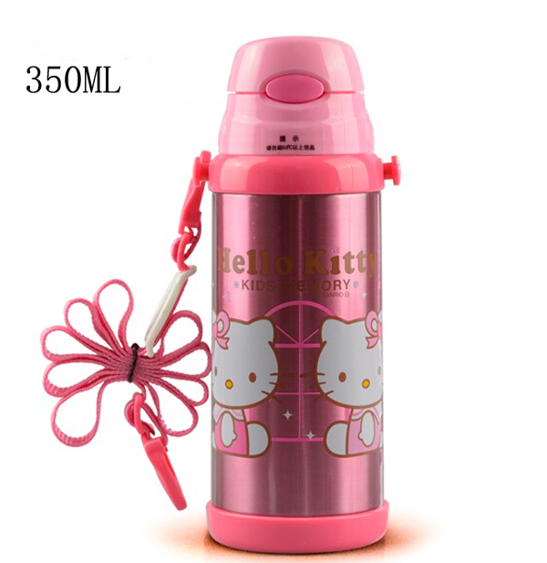 Hello Kitty Cartoon Water Bottle Thermos Mug 350ML Bullet Vacuum Flasks Thermoses With Rope Free Shipping(China (Mainland))