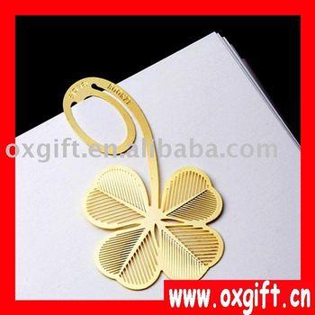 Best selling! Fan Creativity/Novelty 18k gold plating cartoon clover bookmarks,book mark,paper clip