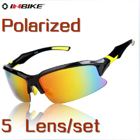 Brand Inbike Cycling Bicycle Bike Outdoor Sports Driving Sun Glasses Eyewear Goggle Sunglasses - 5 Lens Polarized Cherry World store