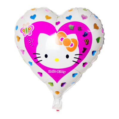 Lucky 50pcs/lot 18 inch Heart Shaped Hello Kitty Balloon Birthday Party Decoration For Girls Classic Toys Foil Helium Balloons(China (Mainland))