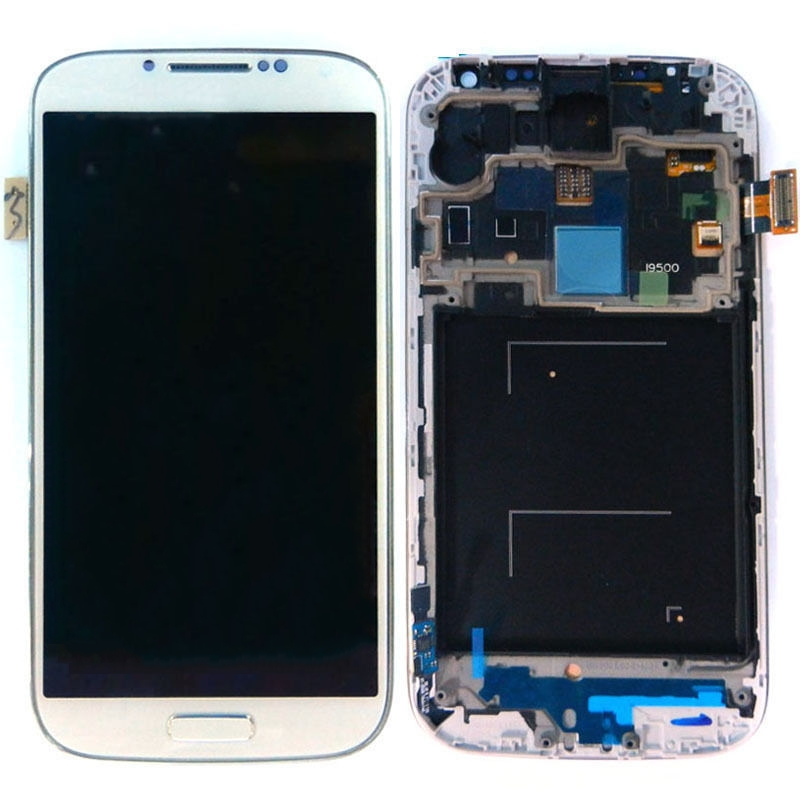 Brand new White Display For Samsung Galaxy S4 IV i9500 LCD Screen+Touch Screen Digitizer + Frame+Homebutton Assembly(with logo)(China (Mainland))