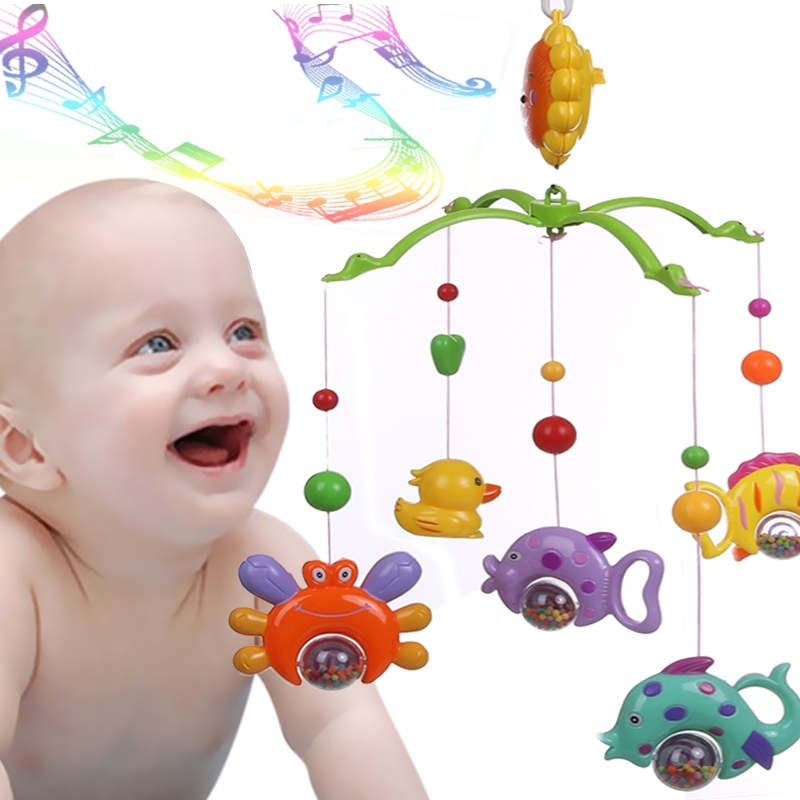 Kids Rattle Toys Baby Crib Bell Toy Cartoon Rotate Lovely Wind-up Twist Bed Soft Music Gift - Mama Love store