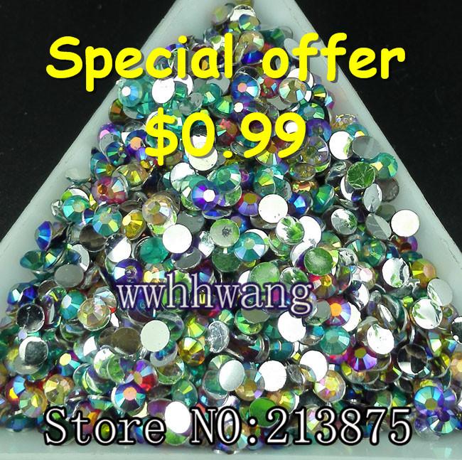 Free shipping 1000pcs 3D Nail Art Tips SS12 3mm Many ab color resin flat back crystal rhinestone not hotfix nails use glue beads(China (Mainland))