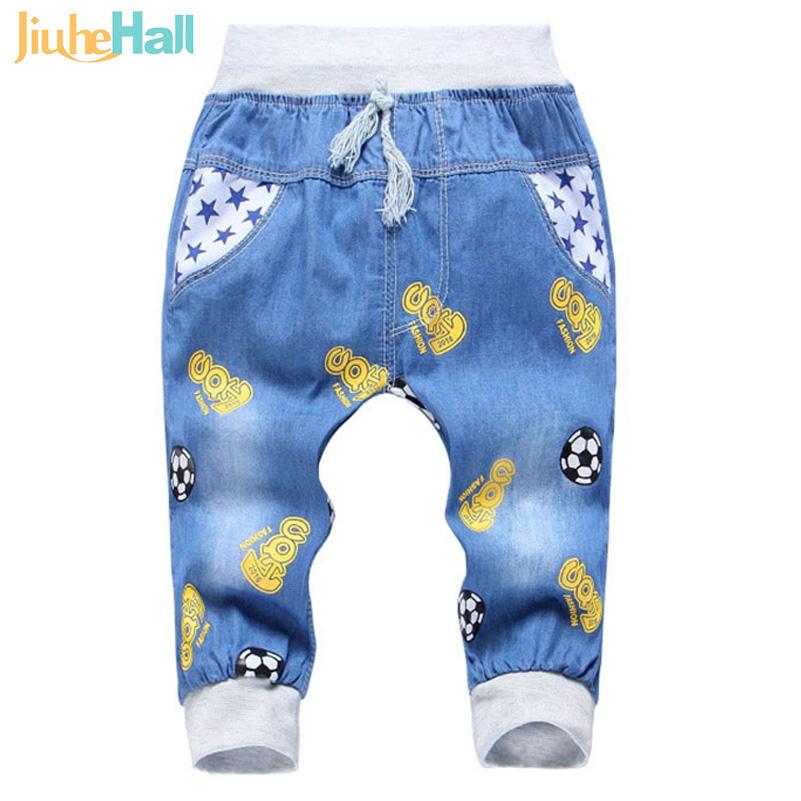 2016 New Fashion Kids Jeans Elastic Waist Straight Cartoon Jeans Denim Seventh Pants Retail Boy Jeans
