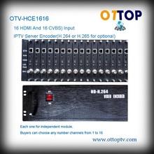 OTV-HCE1616 Sixteen channels HDMI and Sixteen channels CVBS Video H.264 IPTV Encoder IPTV Encoder Server(H.264 Encoding)