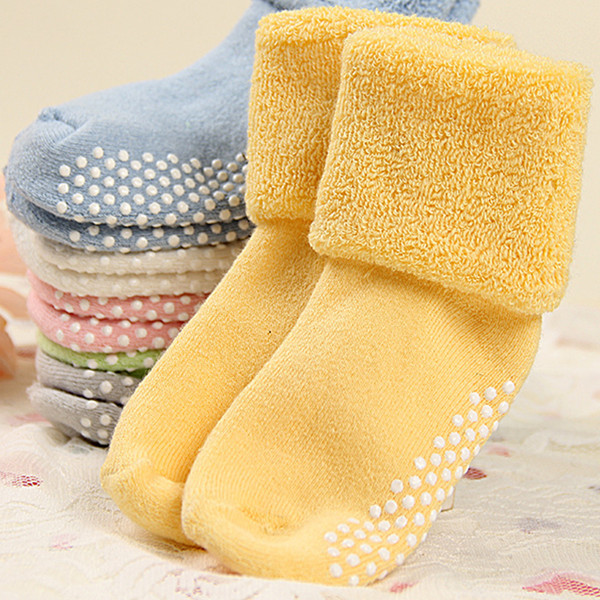 0 - 3 года хлопок детские носки осенью и зимой толстые махровые детские носки сплошной ...