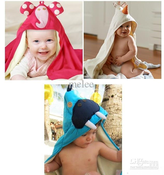 Baby Cotton Hoodie Bathrobe Swim Cover-up One Size Towel Bath Robes bathing boys girls robe Beach(China (Mainland))