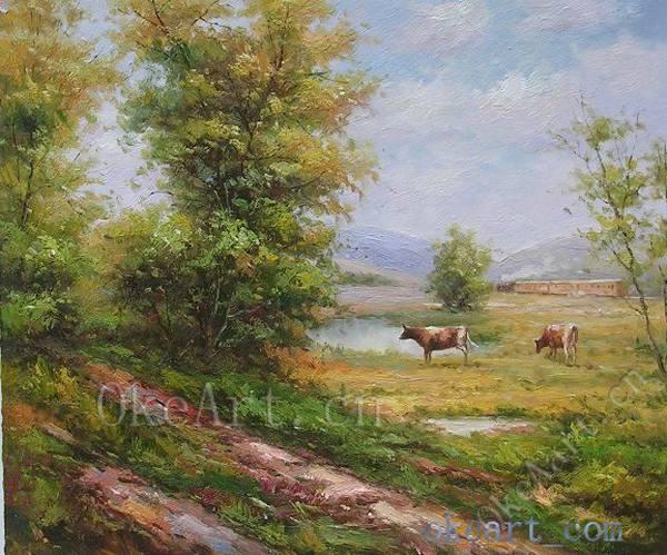 Paisaje impresionista pintura al leo pintada a mano vaca for Decoracion del hogar en primavera
