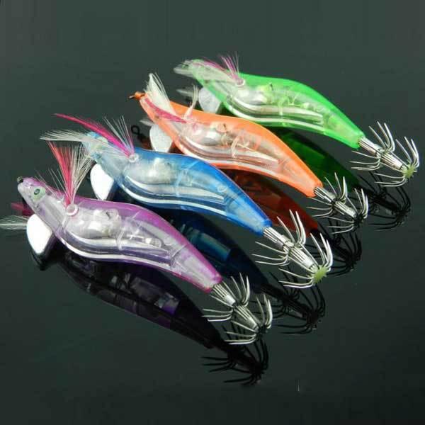 Hishop Electronic Luminous Shrimp Lure Squid Fishing Jigs Lures Bass Bait(China (Mainland))