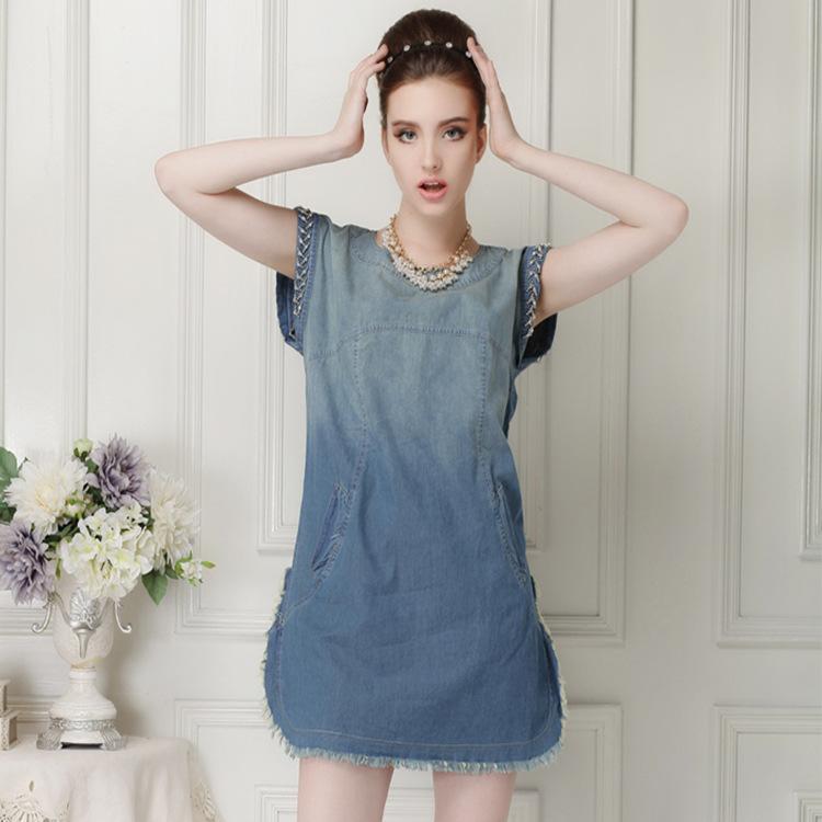 2015 autumn new style t-beaded short sleeve loose pockets side slit dresses women short cowboy Blues(China (Mainland))