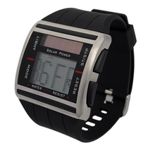 2016 Fashion Watch Solar Binary Watch Men Digital Sports LED Watches Men Solar Power Wristwatch with Scrolling Time Black(China (Mainland))