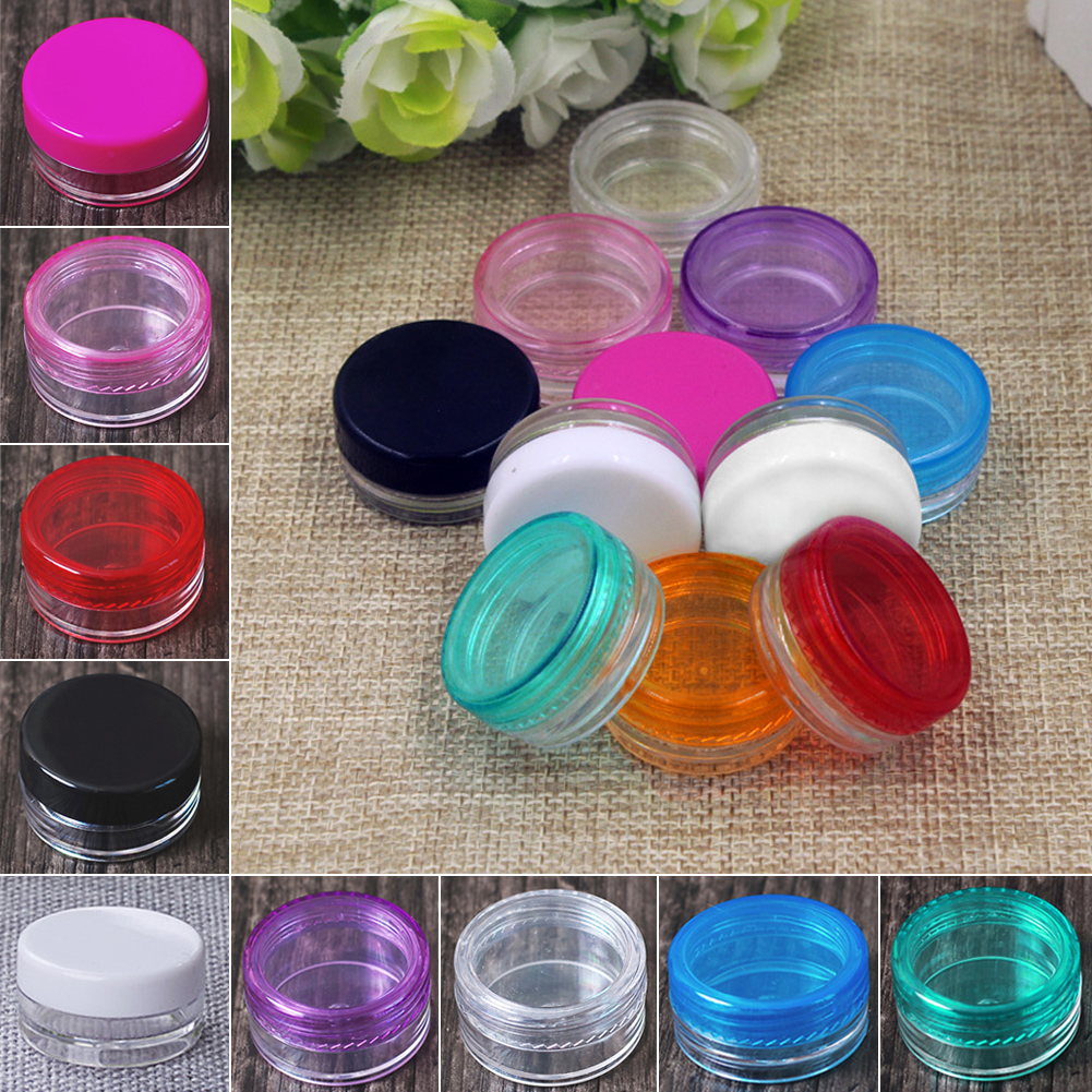 1pc 5g Small Plastic Sample Containers Mini Jar With Lid Empty Cosmetic Packaging Pot Box For Nail Polish Powder Glitter Art(China (Mainland))