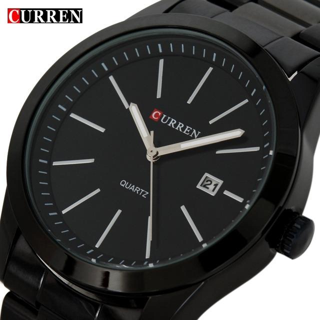 Мода Curren кварцевые свободного покроя полный стали часы черный деловой человек наручные часы водонепроницаемый Relojes хомбре Relogio 2016