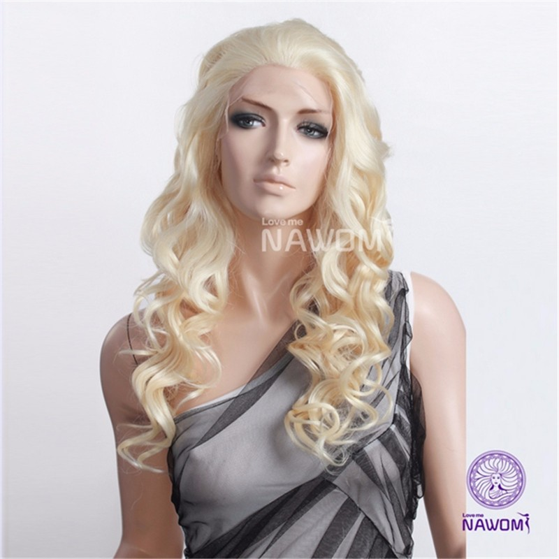Top Quality Brand New 61CM Synthetic Curly Hair Wig Fashion Heat-Friendly Wavy 24Inch Long Lace Closure Hallowmas Patry Cos Wigs