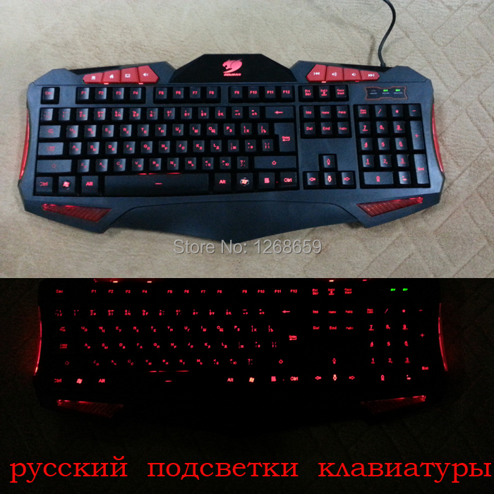 Russian backlit gaming keyboard russia letter version computer laptop wired USB red led backlight gamer keyboard free shipping(China (Mainland))