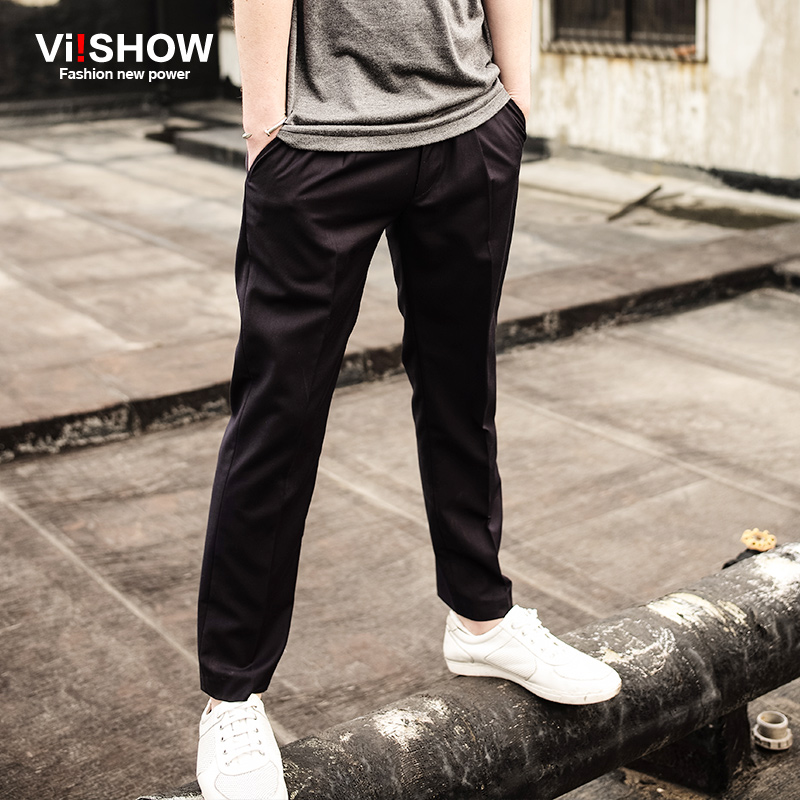 Viishow brand 2016 new spring leisure black pants fashion slim trousers retro thin trousers