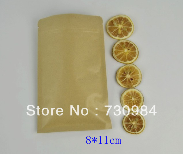 8*11cm Zipper Kraft Paper Aluminum Foil Bag,Flat Food Ziplock Bag,Sealing Pocket, - Delight Packaging Center store