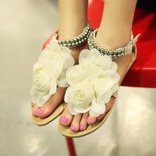2015 Hot Summer Gladiator Sandals Women Beading Flowers Buckle Strap Bohemian Women Sandals Flat Fashion Sapato Feminino