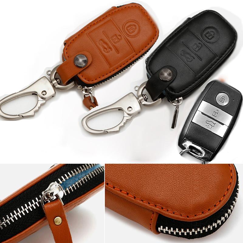 Newest Genuine Leather Car Key Cover For KIA Soul K3 Forte Cerato Sorento Auto Bag Black